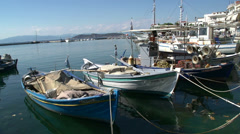 Fishing boats in limenas, Thassos town, Greece Stock Footage