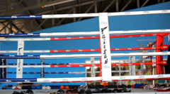 Empty boxing ring gym arena. Video shift motion - stock footage