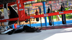 Empty boxing ring gym arena. Video shift motion Stock Footage
