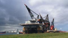Road + pan Marine crane vessel and  maintenance platform Thialf (DCV) Stock Footage