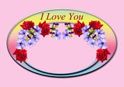 Oval frame with red roses and peonies Stock Illustration