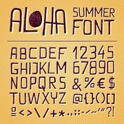 Stock Illustration of aloha summer hand drawn font - yellow background