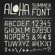 aloha sumer hand drawn font - chalkboard - stock illustration