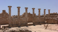 Series of columns in Paphos Archaeological Park - stock footage
