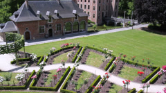 Stock Video Footage of Coloma castle and its park in the French style.