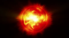 Blazing Red Hot Star with Sun Flares and Solar Wind Stock Footage