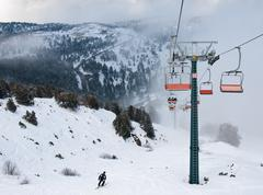 ski  lift resort at troodos mountains - stock photo
