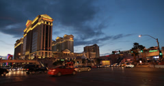 4K video of a busy junction outside Caesars Palace hotel and casino, Las Vegas Stock Footage