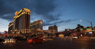 Stock Video Footage of 4K video of a busy junction outside Caesars Palace hotel and casino, Las Vegas