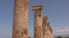 Detailed side view of columns in Paphos Archaeological Park Stock Footage