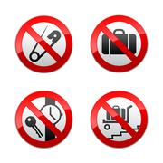 Set prohibited signs - airport - stock illustration