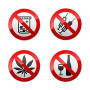 Stock Illustration of Set prohibited signs - drugs