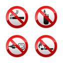 Stock Illustration of Set prohibited signs - flames