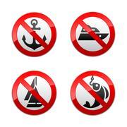 Stock Illustration of Set prohibited signs - fishing