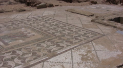 Large patterned Roman floor mosaic in Paphos Stock Footage