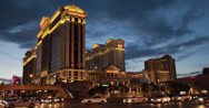 Stock Video Footage of 4K video of the stunning Caesars Palace Hotel and Casino in Las Vegas at night