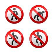 Set prohibited signs - man - stock illustration