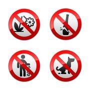 Set prohibited signs - park. Stock Illustration