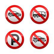 Set prohibited signs - transport - stock illustration