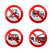 Set prohibited symbols - transport - stock illustration