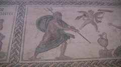 Mosaic of Poseidon in Paphos Archaeological Park Stock Footage