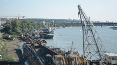 River life, transportation ships on the river Stock Footage