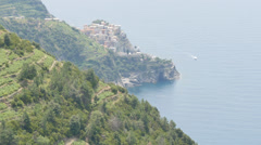 Manarola, the second smallest of the famous Cinque Terre towns Stock Footage