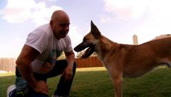 Trainer with Dog - stock footage