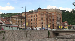 Town hall, National and University Library of Bosnia and Herzegovina Stock Footage