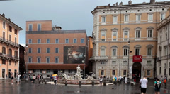 Footage Of Navona Square Cloudy Weather Stock Footage