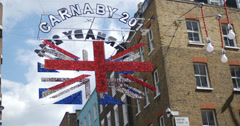 Carnaby 2014, Union Jack sign in London 4K Stock Footage