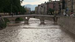 Famous bridge in Sarajevo Stock Footage
