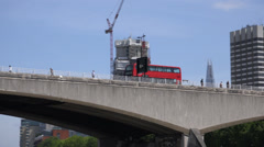 Stock Video Footage of Red Bus on Waterloo Bridge