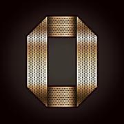 Letter metal gold ribbon - O - stock illustration