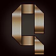 Letter metal gold ribbon - Q - stock illustration