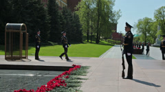 Change of guard of honor at the Tomb of the Unknown Soldier - stock footage