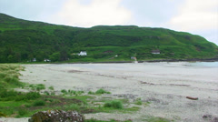 Wild isolated beach on the fjords, Calgary bay - pan right Stock Footage