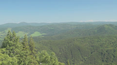Panorama of summer mountain landscape from above Stock Footage