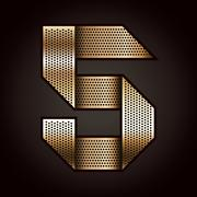 Number metal gold ribbon - 5 - five - stock illustration