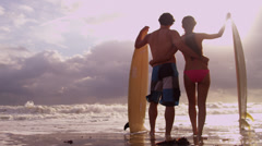 Asian Chinese Male Female Holding Surfboards Silhouette Beach Stock Footage