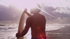 Athletic Young Ethnic Male Surfer Beach Close Up Stock Footage