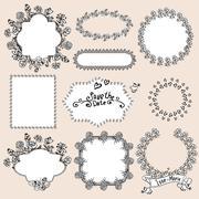 Floral Monochrome Design Laurels, Wreaths, Frame - stock illustration
