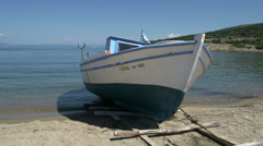 Fishing boat at the beach in skala marion, Thassos, Greece Stock Footage