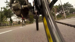 Mountain biking camera view low angle Stock Footage
