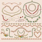 Floral Laurels, Ribbons, Wreaths Vector - stock illustration