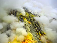 Pipes Used for Sulfur Mining Inside the Kawah Ijen Volcano, Java, Indonesia Stock Photos