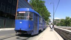 Old tram in Sarajevo Stock Footage