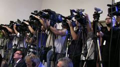 News, many television broadcasting teams at work Stock Footage