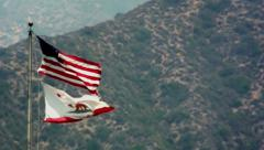 America & California Flag (Slow Motion) Stock Footage