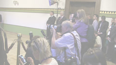 Photographers at press conference - stock footage